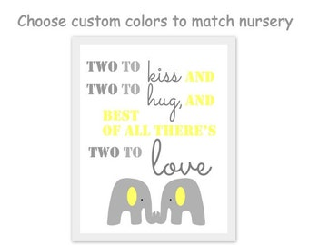 elephant nursery artwork, twin quotes, brother quotes, two to kiss two to hug, elephant artwork, playroom, gray and yellow elephant print
