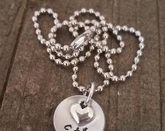 SALE!! CTR concave necklace with a small heart charm, perfect for a LDS Baptism gift.
