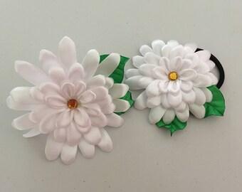 Daisy Flower Hair Ties, Kanzashi Daisy Elastic Ties, White Daisy Kanzashi Hair Ties, Kanzashi Hair Accessories