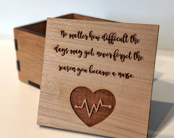 Heartbeat EKG Box/Became A Nurse Quote/Laser Cut Wooden Box/Gifts for Nurses/Nurse's Week Gift/Graduation Gift/Free Engraving