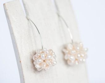 Cluster Pearl Earrings Wedding Bridal Earrings Fresh Water Pearl Jewelry Bridesmaid Earrings Pearl Drop Earrings Bridesmaid Gift Wedding