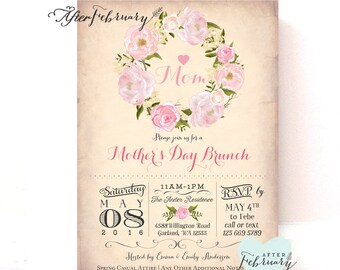 Mother's Day Invitation // MOTHER'S DAY Tea Invitation Shabby Floral Cottage Chic Floral Invite // Printable or Printed No.90MOM