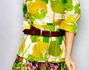 SALE Retro-Modern Floral Prints CAMELLIA Ruffles short Junior Dress