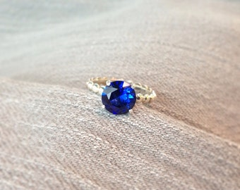 Blue Sapphire Silver Bead Band Ring, Engagement Ring, September Birthstone, Bridesmaids Gifts, Wedding Ring Set