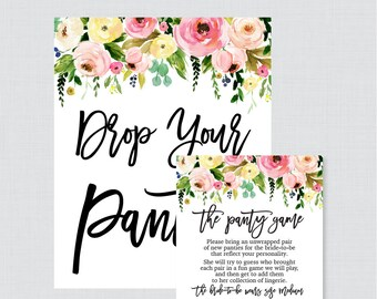 Pink and Yellow Floral Panty Game - Printable Lingerie Shower Panty Game Cards AND Sign,  Lingerie Shower Game, Bachelorette Party 0031-A