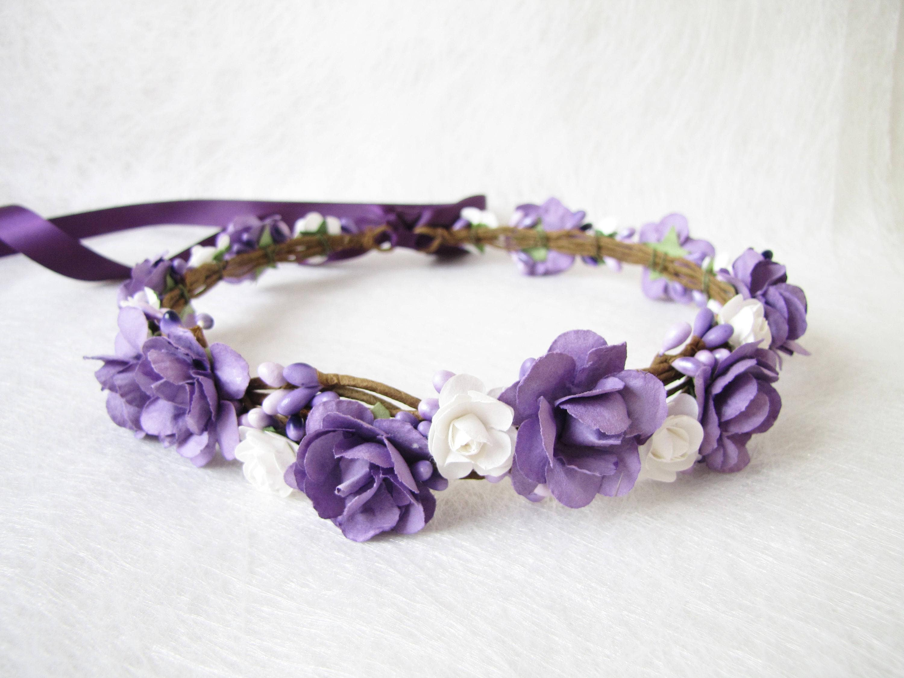 Purple Wedding Floral Crown Levander Flower Headband Floral
