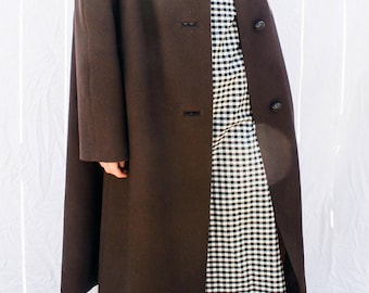 Vintage Wool Coat with Genuine Mink Fur Collar
