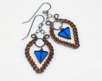 Teal Blue Beaded Triangle Dangles, Hippie Hoops Czech Glass, Ornate Feminine Earrings in Mixed Metals, Artisan Original by WillOaks Studio
