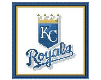 "Cross stitch pattern ""KC Royals"",Instant download PDF"