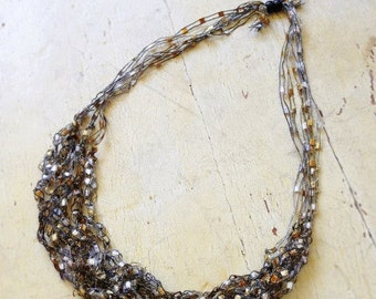 Hand Crochet Jewelry Necklace - Silver & Gold