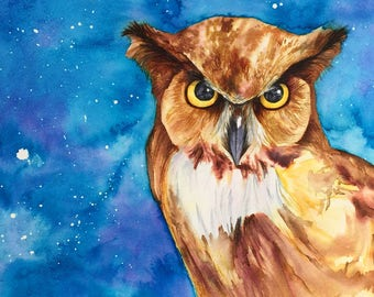 Owl Print, Owl Art, Great Horned Owl Painting, Owl Gift - unframed print of original watercolour owl painting by Kate Green