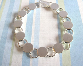 5 Disk Loop Glue On Bracelets 7.2 inch - Silver Plated