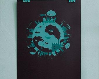 Mint green screen print circular world illustration for big or small girls or boys room