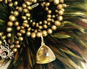 SALE Couture Pearl and Kiwi Quartz Pendant Necklace