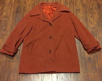 Vintage Retro 60s 70s Mid Century Rust Wool Princess Dress Swing Car Coat Womens Large 18