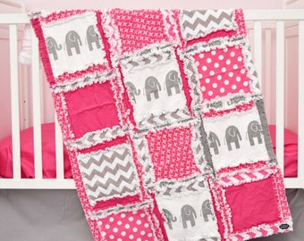 Elephant Nursery Baby Girl Quilt - Hot Pink / Gray Nursery Crib Rag Quilt - Safari Crib Bedding - Jungle Crib Bedding Baby Girl Nursery