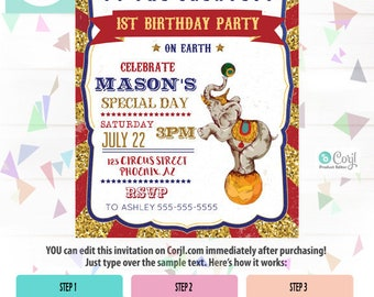 Carnival Birthday Invitation, Birthday Invitation, Birthday Party