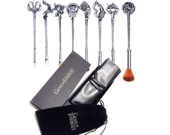FREE SHIPPING -  Game of Thrones Makeup Brushes Brush Set - SILVER