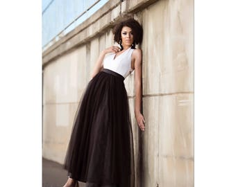 The Black Tulle Maxi Skirt Full/Floor Length Made to Measure