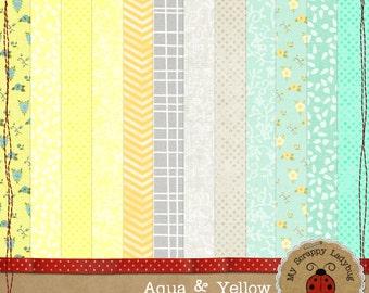 """Aqua and Yellow Floral Digital Textured Scrapbook paper. 12x12"""" 300 DPI. Instant Download"""