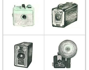 camera print set - four 5x5 giclee art prints -- vintage camera watercolor prints (with savoy) // wall art