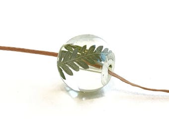 Resin Bead Necklace with Fern.  Resin Jewelry with Real Pressed Flowers  - Gift for Her, Gift for Mom, Girlfriend Gift
