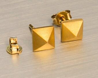 Clous pyramide, pyramide en or 925 argent Sterling, goujons de pyramide, pyramide en or massif en argent
