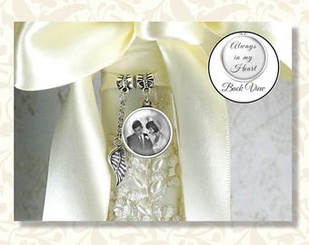 Two Sided Bridal Bouquet Photo Charm & Angel Wing, Wedding Bouquet Memory Charm, 1 or 2 Charms, Ring Bearer Pillow Charm, Choice of Finish