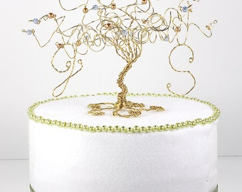 Wedding Cake Topper Love Birds Custom Wire Tree Sculpture with Two Birds or Owls