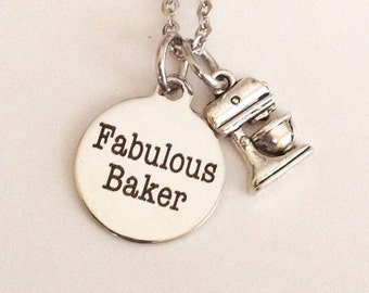 Baker necklace, fabulous baker, PETITE stainless steel necklace, love to bake, gifts for bakers, mixmaster, mothers day, birthday gifts