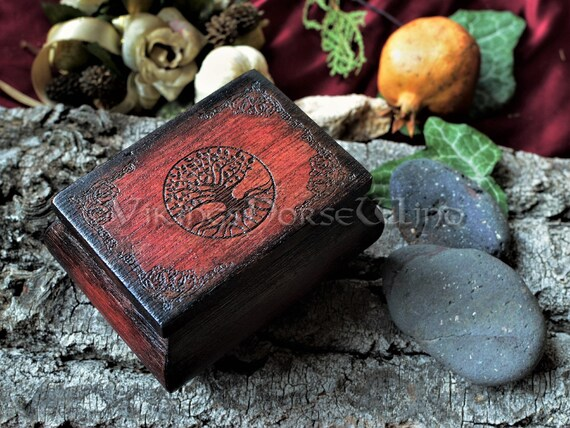 Yggdrasil Wooden Box Tree of Life Jewelry Box Witch