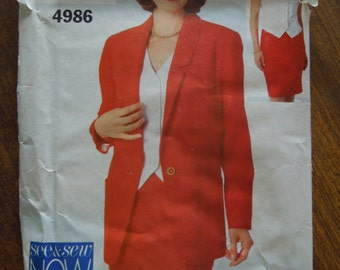Butterick See and Sew 4986, jacket, top, skirt, misses, womens, UNCUT sewing pattern,craft supplies