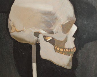Oil painting Still Life with human skull