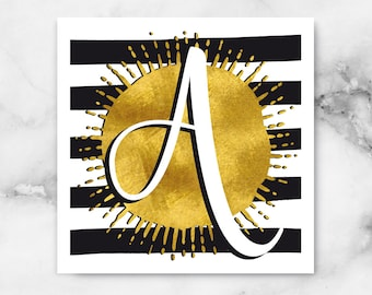 ABC Black/White Stripes-A-poster, print, art print, typography art, Calligraphy, alphabet, initials, letter, letter, letters