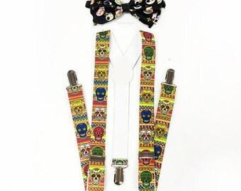 Day of the Dead, Dia de los Muertos, Dia de los Muertos suspenders, Black bow tie, Halloween Costume, Sugar Skull Set, DOTD, Day of the Dead