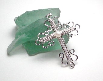 Intricate Wire Wrapped Silver Cross Pendant