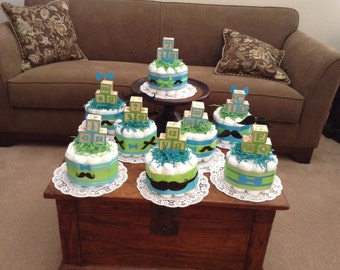 Little Man Mustache Diaper Cake Baby Shower Centerpieces.
