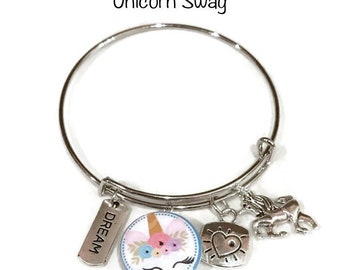 One of A Kind - Unicorn- Fundraising - School Themed Bangle Bracelet - Customize with Your School Name or Logo