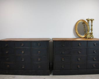 Pair Black Vintage Hardware Store Drawers
