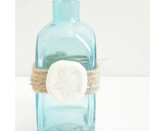 Aqua Sea Glass Bottles