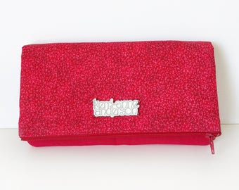 Women's Wallet Clutch with Fold Over Flap, Card Slots and Zippered Coin Compartments in Red