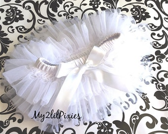 Sale -WHITE TUTU BLOOMER ruffles all the way around,Chiffon Baby Bloomer, Diaper cover, photo prop, newborn bloomer  -ready to ship-