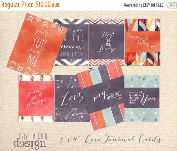 "70% OFF Sale 3"" x 4"" Digital Love Quotes Printable Journaling cards for Scrapbook, blogs, invitations, wedding photos"