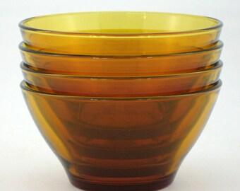 4 bowls Duralex amber glass vintage