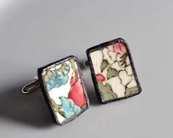 Broken China Cuff Links - Red White and Blue