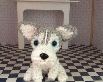 Siberian Husky Stuffed Animal,  Plush Dog, Amigurumi Toy, Handmade, Crocheted