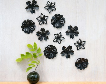 Wall Decor Flowers, Black Blossoms, Pop-up, Set of 12, Made in Canada, Black Flowers, Wall Art Flowers, 3-D Flower Art, Flower Decor