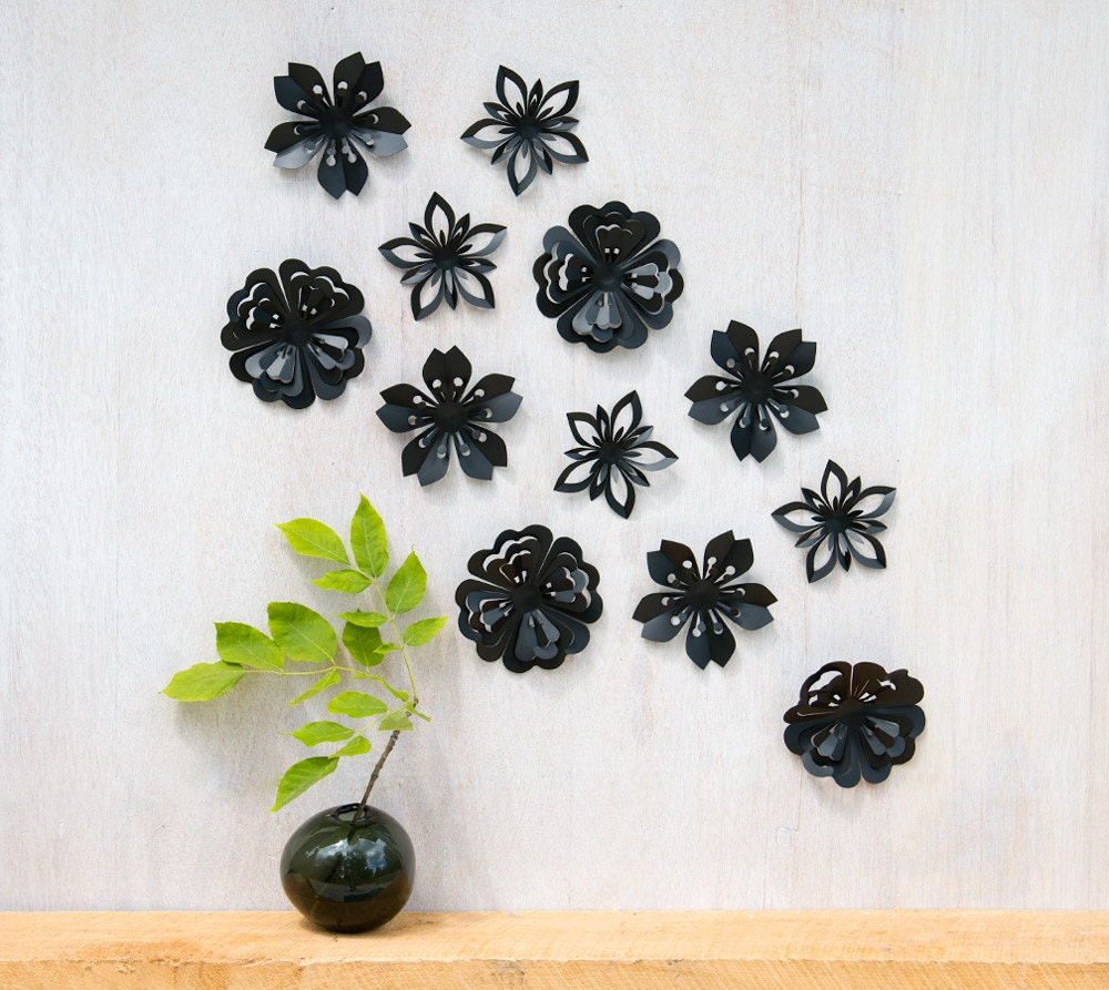 Wall Decor Flowers Black Blossoms Pop-up Set of 12 Made in