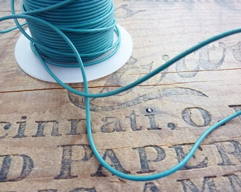 Leather 1.5mm Leather Cord Quality Green Turquoise by the yard