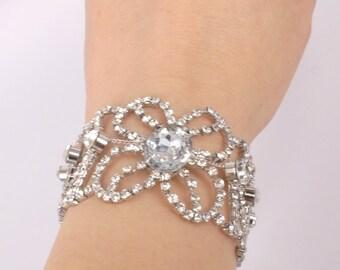 Erica-Vintage Style Rhinestone and Ribbon Bracelet